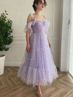 A Line Prom Dresses, Tea Length Dresses, Prom Party Dresses, Dress Party, Purple Evening Dress, Evening Dresses, Pretty Dresses, Beautiful Dresses, Lavender Dresses