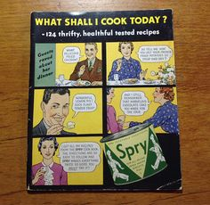 $10.66 for sale 2017 Vintage mid century U.S Spry - pure vegetable shortening, recipe booklet with coloured photos. It has 48 pages with five coloured photos and many black and white photos. It was published by Lever Brothers Company, Cambridge, Mass. It is in good condition with no tears or marks except a tiny fold mark on front cover and some wear on spine. It measures 7/17 cm by 6/15 cm.