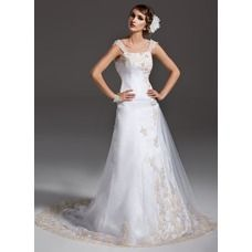 [€ 201.74] A-Line/Princess Off-the-Shoulder Court Train Satin Tulle Wedding Dress With Ruffle Lace Beading (002000091)