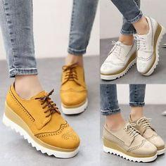 Mujeres-Vintage-Ojal-Cordones-Oxfords-informal-Zapatos-plataforma-cunas-Mid-Heels