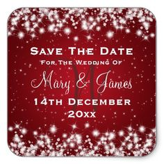 Love it!! Elegant Wedding Save The Date Winter Sparkle Red Square Stickers ..... Great idea for people to put on their calendars.