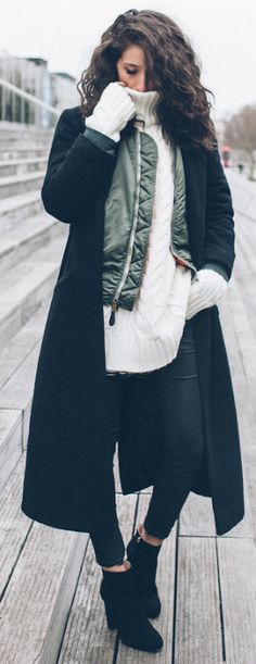 Extra long sleeves + knitwear look + Alexandra Guerain + warm and cosy winter feel + black maxi coat + ankle boots   Coat: Asos, Bombers: Vintage, Sweater: Anine Bing, Jeans: Zara, Shoes: Minelle x Gerogia May Jagger.