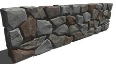 Dry stone wall 03 - basalt - 3D Warehouse