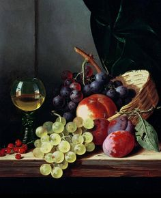 Grapes and plums Painting  - Grapes and plums Fine Art Print
