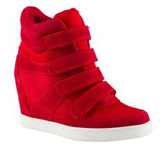 Loving Kimberly Cole's Aldo Chism wedge sneakers in the Skylar Grey FM episode Red Wedge Sneakers, Hidden Wedge Sneakers, Red High Heel Shoes, High Heel Sneakers, Shoes Heels Wedges, Sneaker Heels, Wedge Shoes, Platform Sneakers, Red Wedges