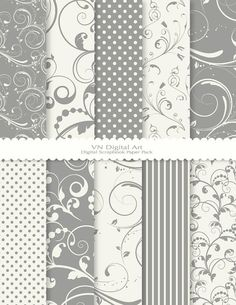 Digital Paper Swirls Digital Scrapbook Paper Pack door VNdigitalart