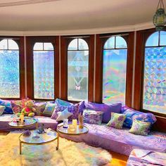The Space Queen is the Sanctuary Stylist for Visionaries and Luminaries. Magical, whimsical, rainbow interior design and decorating. Girls Apartment, Apartment Living, Apartment Ideas, Hippy Room, Rainbow Decorations, Pinterest Home, Window Films, Amazing Spaces, Home Trends