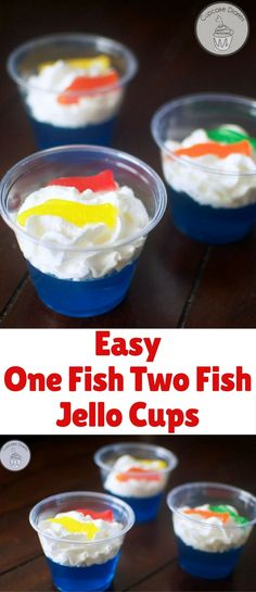 This snack is inspired by the Dr. Seuss book One Fish Two Fish Red Fish Blue Fish. They're so easy to make and they're bright and fun. This would make a great snack for a school class.