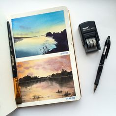Beautiful pieces of artwork. Anyone know the artist? Watercolor Landscape, Watercolour Painting, Painting & Drawing, Guache, Art Sketchbook, Watercolor Illustration, Doodle Art, Art Inspo, Amazing Art