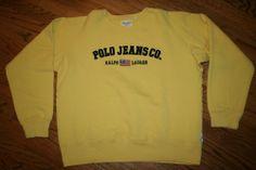 Polo Jeans Co. Ralph Lauren USA Flag Sweatshirt yellow Shirt Adult Large, sewn #RalphLauren #sweatshirt