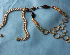 Beaded necklace, bead necklace, wire necklace, bead, wire, gold by doubledzbeadz. Explore more products on http://doubledzbeadz.etsy.com