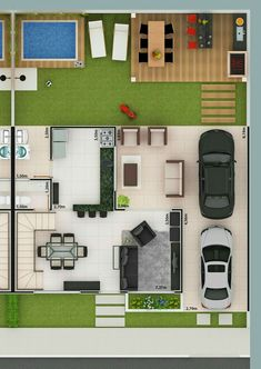 Pergola For Car Parking Small House Floor Plans, Duplex House Plans, Modern House Plans, Minimal House Design, Japanese Style House, Casas The Sims 4, Rest House, House Map, Bungalow House Design