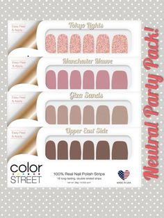 Color Street nail polish strips in neutral shades look great anytime of year. Neutral Nail Polish, Nail Polish Colors, Dry Nail Polish, Nail Growth Tips, Nail Color Combos, Party Nails, Nail Polish Strips, Color Street Nails, Mauve Color