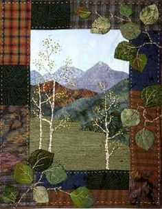 Aspen Grove Miniature Quilt Pattern Rocky Mountain Memories 8 034 x 10 034 Applique Colchas Quilting, Quilting Projects, Small Quilts, Mini Quilts, Landscape Art Quilts, Landscapes, Tree Quilt, Quilt Art, Fabric Postcards