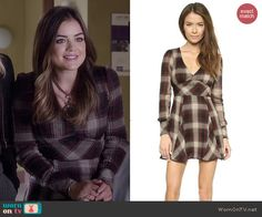 Aria's plaid long sleeve dress on Pretty Little Liars. Outfit Details: http://wornontv.net/46132/ #PLL