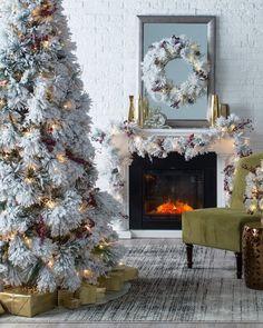 Belham Living Flocked Pine Needle Pre-Lit Christmas Tree with Berries and Pine Cones by Belham Living