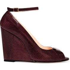Jérôme Dreyfuss Juliette embellished leather wedge pumps ($310) ❤ liked on Polyvore featuring shoes, pumps, plum, peep-toe shoes, peeptoe shoes, peep toe wedge shoes, peep toe shoes and strappy shoes