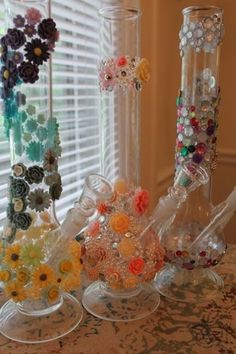 Customised bongs.  I love the flower bong!! So beautiful I dont know if I would want to even smoke from it :3
