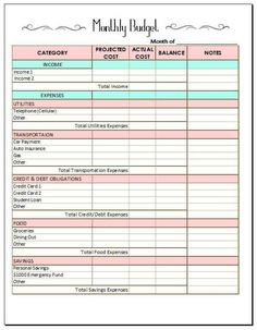 free monthly budget template diy projects pinterest budgeting