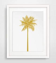 California Gold, Mustard Yellow Palm Tree Print === Print out this modern wall artwork from your home computer or local print shop to