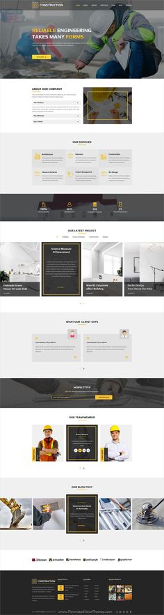 RS is clean and modern design PSD template for construction company website with 2 homepage layouts and 10 layered PSD pages download now..