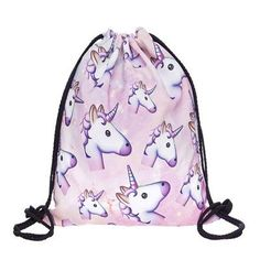 Unicorns are real believe in yourself Ladies Womens Gym bag drawstring high school pe class