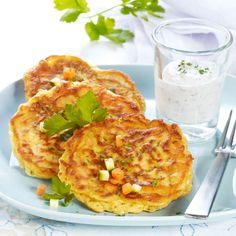 Gemüse-Pfannkuchen mit Dip Salmon Burgers, Cauliflower, Healthy Recipes, Healthy Food, Snacks, Lunch, Meat, Vegetables, Ethnic Recipes
