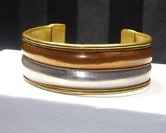 Vintage WIDE Mixed Metal Cuff Bracelet Brass by SellitAgainVintage, $27.00