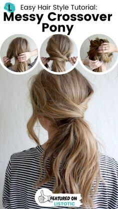 Ponytail Hairstyles Tutorial, Pony Hairstyles, Hair Ponytail Styles, Super Easy Hairstyles, Cute Simple Hairstyles, Short Hair Ponytail Hairstyles, Hairdos, Cute Easy Ponytails, Ponytail Easy