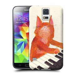 Tostore Ginger cat playin piano card battery cover for samsung galaxy s5 case