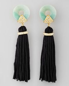 Amazonite Tassel Earrings. These Rachel Zoe earrings define deco decadence with earthy amazonite, pave crystals, and a swingy tassel.