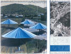 Christo, The Umbrellas, Joint Project for Japan and U.S.A., collage 1991. National Gallery of Art, Washington, Gift of Dorothy and Herbert Vogel © Christo 1991