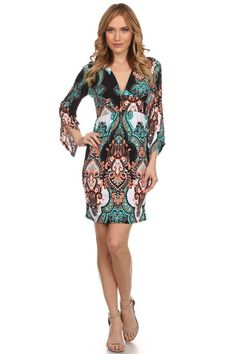 Border Print Dress With Bell Sleeve