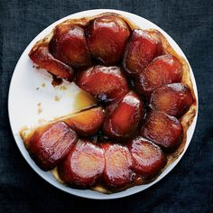 Don't wait too long before inverting this tart; the caramel will stick if it gets cold.