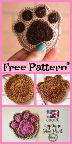 Cute Crochet Paw Print – Free Patterns #freecrochetpatterns #pawprint#blanket #coaster
