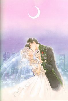 "Usagi Tsukino (Sailor Moon) & Mamoru Chiba (Tuxedo Mask) on wedding day from ""Sailor Moon"" series by manga artist Naoko Takeuchi."