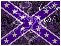 Country girl; purple rebel flag; purple browning deer