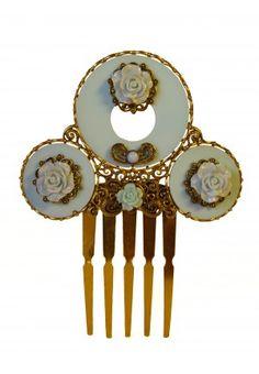 Peineta dorada flores