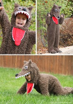 Tutorial for 'Little Red Riding Hood' Wolf (can be adapted to create dog, cat, etc.) www.makeit-loveit.com #costume #diy