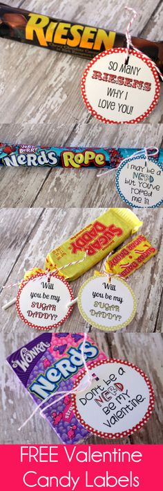 Free Valentines Candy Labels on { lilluna.com }