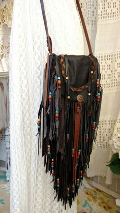 Handmade Brown Leather Fringe Bag Hippie Cross Body Boho Tribal Purse tmyers