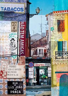 Karen Stamper Rua de Sao Joao Travelling the world through collages . by Karen Stamper Photomontage, A Level Art, Mixed Media Collage, Collage Artwork, Painting Collage, Mixed Media Artists, Illustration, Artistic Photography, Mixed Media Photography