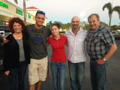 Parents and cousins outside Romeu Cuban Restaurant, Davie.