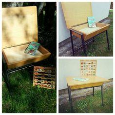 #deeliciousfinds #vintage #wooden #school #desk School Desks, Vintage, Standing Desks, Vintage Comics, Student Desks