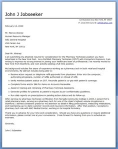 sample pharmacy technician cover letter