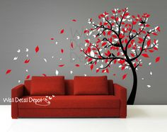 Vinyl Tree Wall Decal Wall Sticker Art - Blowing tree - 14. $85.00, via Etsy.