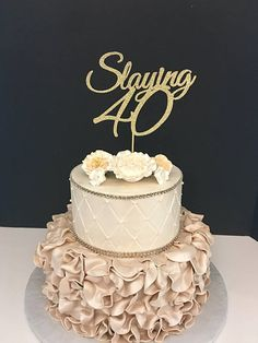 ANY NUMBER Gold Glitter 40th Birthday Cake Topper Slaying 40 60th Toppers