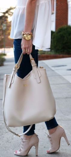 Gigi New York Ivory Smooth Leather Shopper Bag - When this cutie tote is done shopping, HUMPhooks permanent swivel purse hooks will be there to pamper www.humphooks.com