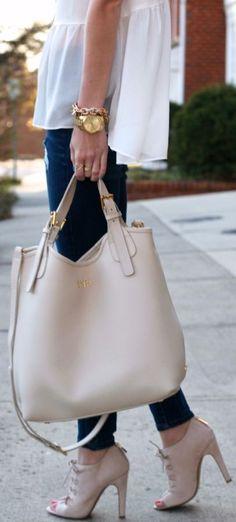 I like the whole package - watch, shoes and handbag! Gigi New York Ivory Smooth Leather Shopper Bag