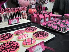 Slumber party with a monster high twist... we incorporated some monster high elements into this Pink & Black themed slumber party!